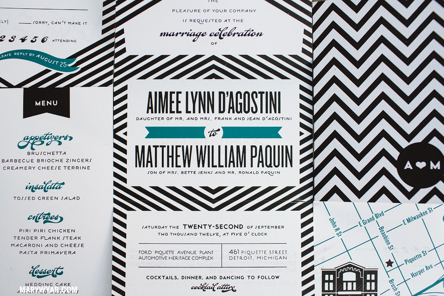 AimeeMatthew-detroit-wedding-photographer-piquette-plant-chevron-modern-black-white-teal-mid-century02.jpg
