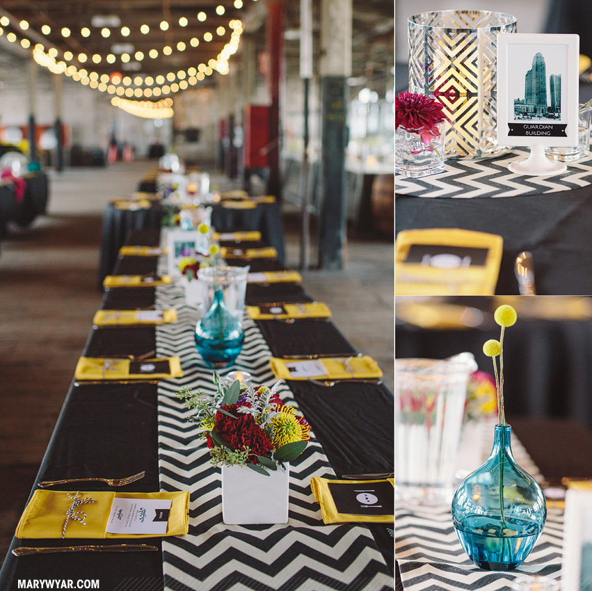AimeeMatthew-detroit-wedding-photographer-piquette-plant-chevron-modern-black-white-teal-mid-century56.jpg