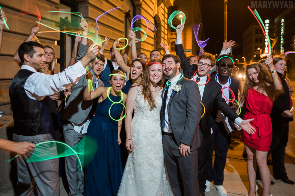 Wedding glow stick exit photo
