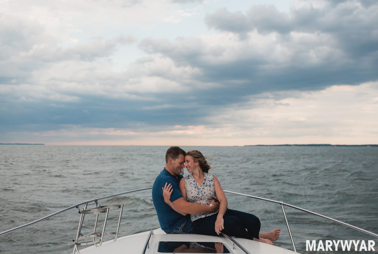 Boat Ohio Lake Erie engagement photos