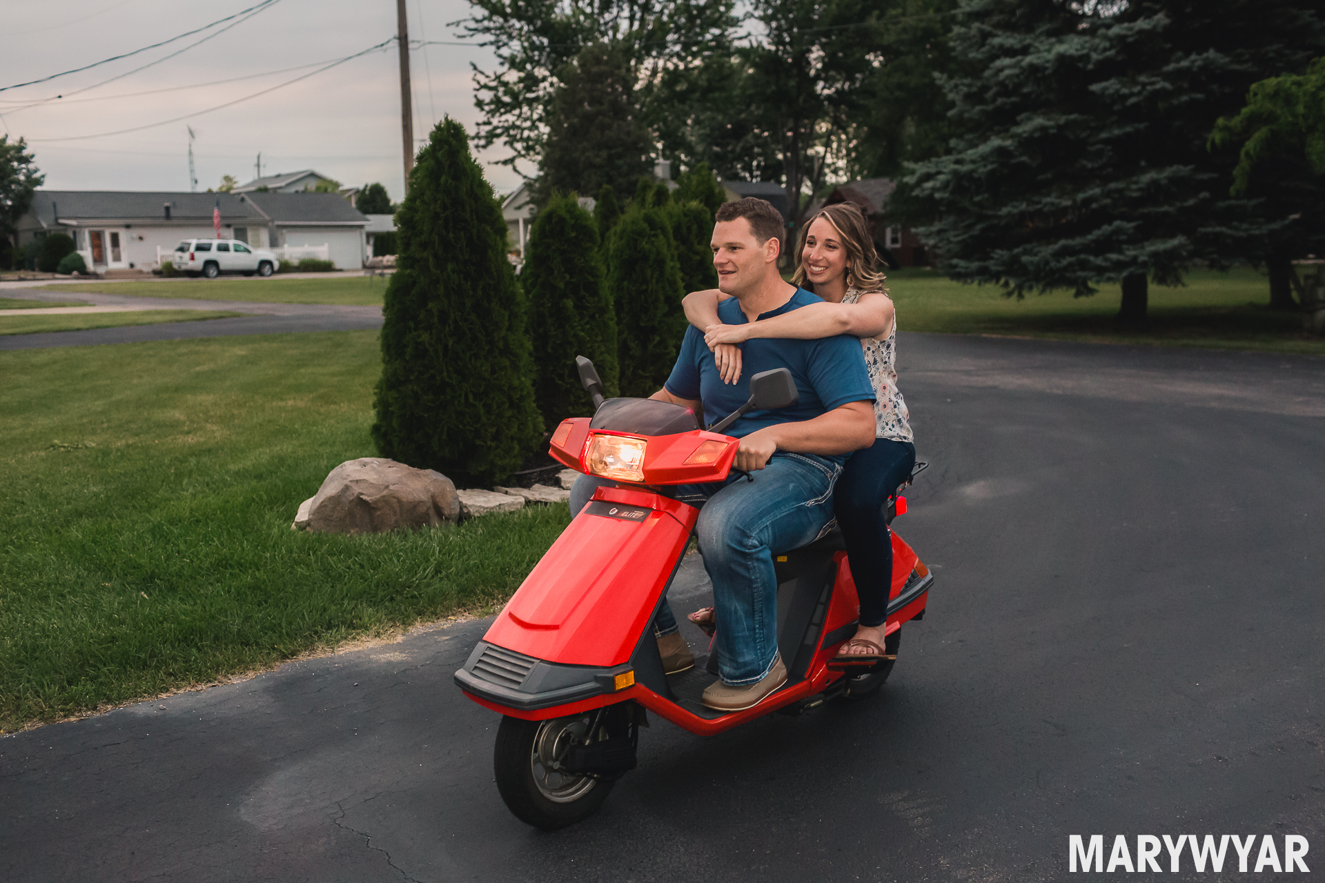 scooter engagement photo