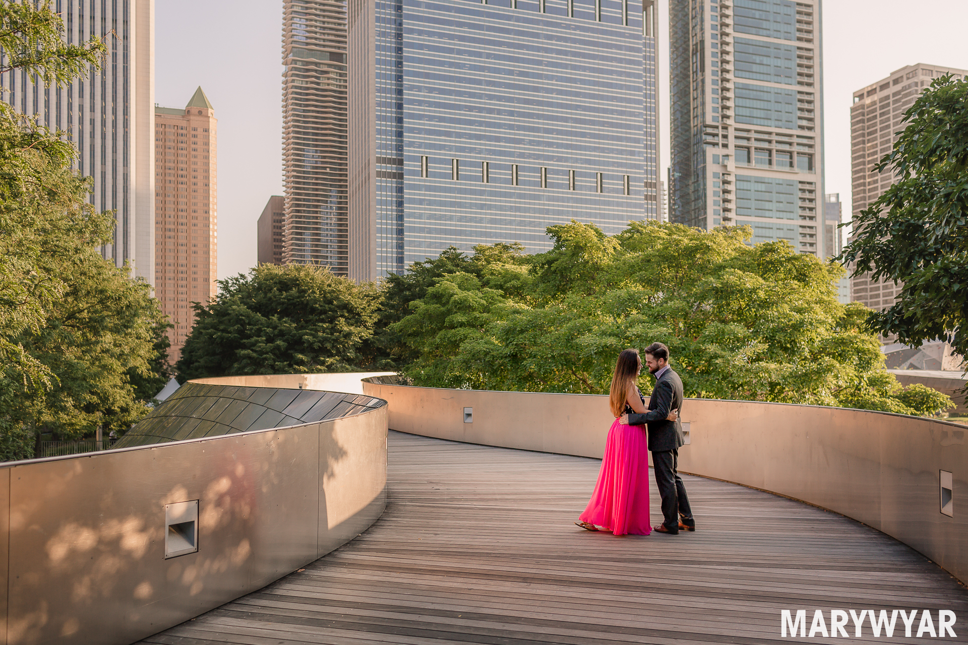 Chicago Snake Bridge Frank Gehry engagement photo