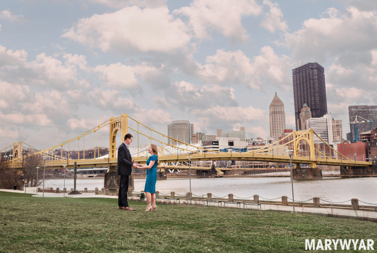 Pittsburgh Engagement Photos Yellow Bridges