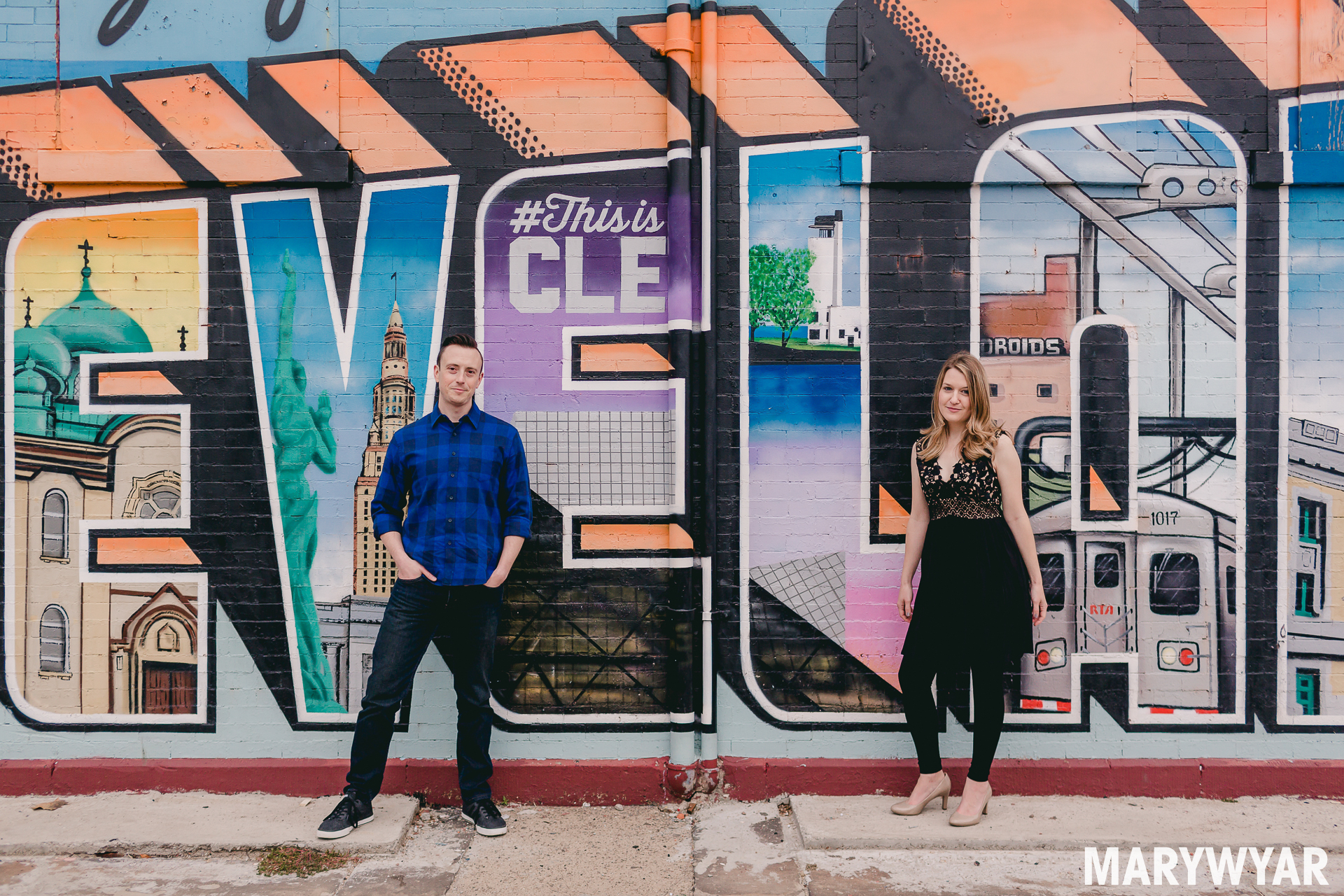 photos Cleveland engagement murals