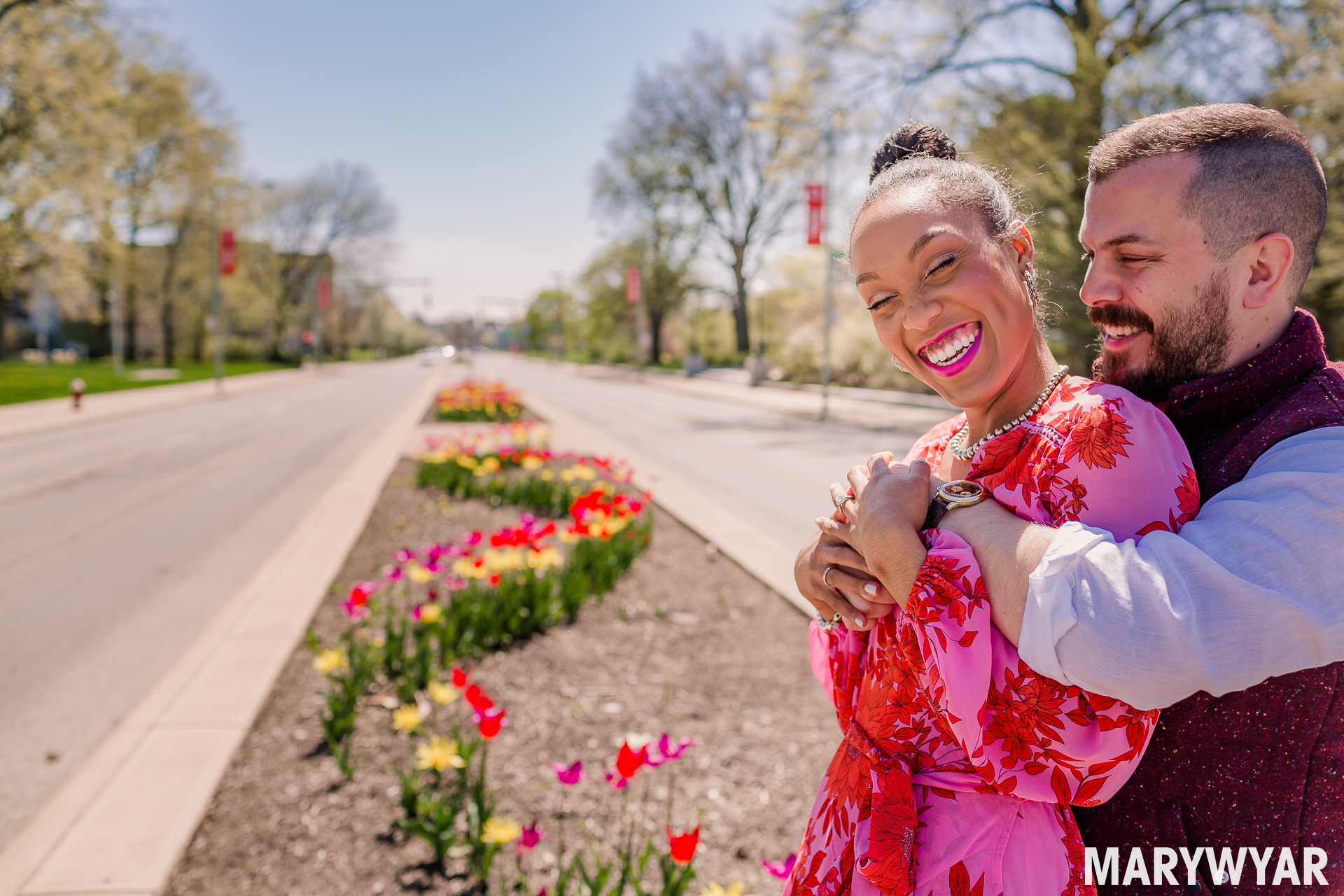 Toledo wedding photographer Spring museum engagement photos