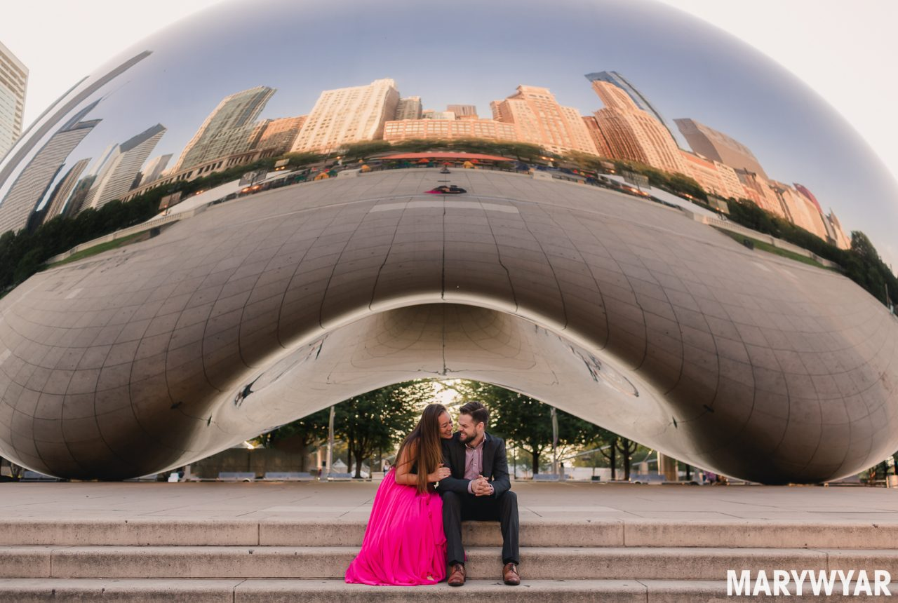 Chicago Bean Cloud Gate Engagement Photo